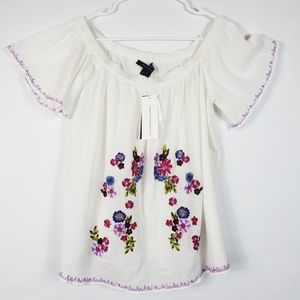 French Connection NWT white peasant top M